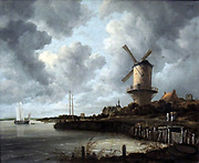 The Windmill at Wijk bij Duurstede by Jacob Isaacksz van Ruisdael (c. 1628-1682) oil on canvas, c 1668-1670.  The windmill rises up majestically, defying the dark rain clouds and overshadowing the castle and the church of Wijk bij Duurstede.  The River Lek flows in the foreground.  This painting is world famous and rightly so.  In this impressive composition, Ruisdael united all the typical Dutch elements - the low-lying land, the water and the expansive sky - manipulating them to converge on the equally characteristic Dutch watermill.