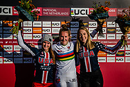 Women Elite Podium: #11 (WILLOUGHBY Alise) USA (2nd); #1 (SMULDERS Laura) NED (1st), #23 (STANCIL Felicia) USA (3rd)  at Round 4 of the 2019 UCI BMX Supercross World Cup in Papendal, The Netherlands
