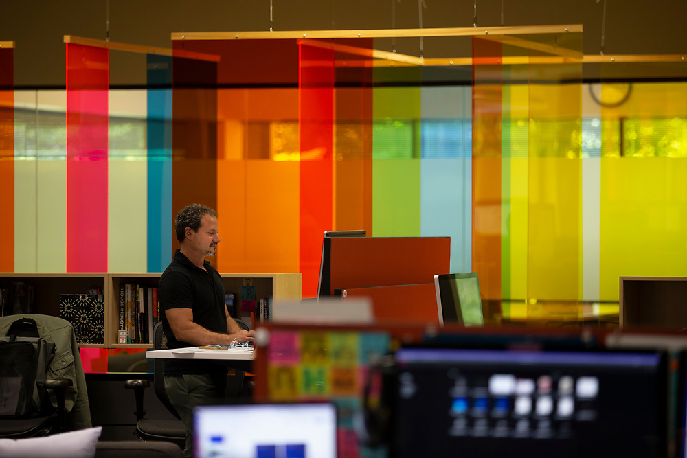 Opus Agency is a winner in The Oregonian/OregonLive's 2018 Top Workplaces competition. Lee Feidelson, Creative Director, in the brand events and marketing agency's Beaverton location at 9000 S.W. Nimbus Avenue. Photo by Randy L. Rasmussen