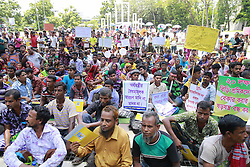June 10, 2017 - Dhaka, Bangladesh - Tobacco workers stage demonstration on the Central Shaheed Minar premises in the capital protesting increased tax on tobacco products in 2017-18 budgets, Dhaka, Bangladesh, June 10, 2017. (Credit Image: © Suvra Kanti Das via ZUMA Wire)