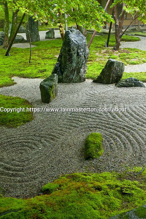 Detail of dry zen garden at Dazaifu Komiyo-Ji Temple Fukuoka Japan