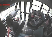 CCTV footage shows terrifying screams of students as school bus carrying 50 flips over and lands into a ditch<br /> <br /> Bus 213 was carrying approximately 50 middle and high school students when the crash happened on FM 1942 near Bohemian Hall on Sept. 23. The bus driver told investigators she swerved to miss another vehicle and lost control.<br /> <br /> Officials said the injuries were not life-threatening.<br /> ©Exclusivepix Media
