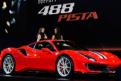 "November 7, 2018 - SãO Paulo, Brazil - SÃO PAULO, SP - 07.11.2018: SALÃO INTERNACIONAL DO AUTOMÃ""VEL SP 2018 - Launch of the 488 Ferrari Track. The International Automobile Show of São Paulo, the largest exhibition of the automotive industry in Brazil and one of the largest in Latin America, begins this Thursday (08) at the São Paulo Expo, in the south zone of the city of São Paulo. The event takes place every two years in the city of São Paulo, with the aim of showing the latest developments in the automotive world, exposing cars, equipment and accessories. (Credit Image: © Aloisio Mauricio/Fotoarena via ZUMA Press)"
