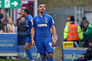 AFC Wimbledon striker Kweshi Appiah (9) looking at linesman after disallowed goal during the EFL Sky Bet League 1 match between AFC Wimbledon and Bolton Wanderers at the Cherry Red Records Stadium, Kingston, England on 7 March 2020.