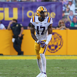 Sep 26, 2020; Baton Rouge, Louisiana, USA; LSU Tigers wide receiver Racey McMath (17) against the Mississippi State Bulldogs during the second half at Tiger Stadium. Mandatory Credit: Derick E. Hingle-USA TODAY Sports
