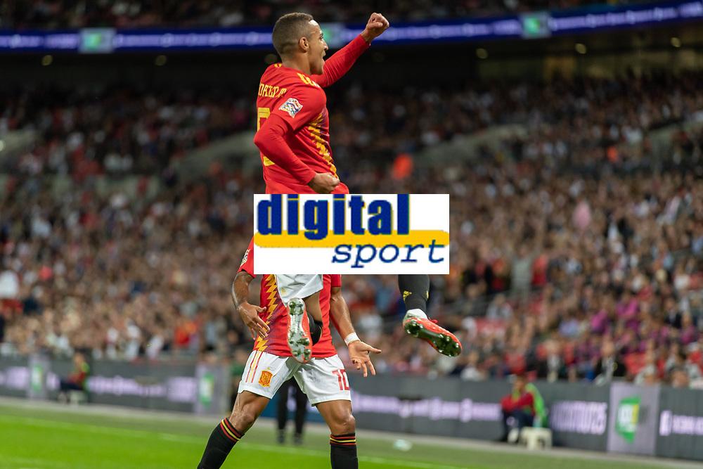 Football - 2018 / 2019 UEFA Nations League A - Group Four: England vs. Spain<br /> <br /> Rodrigo Moreno (Spain) celebrates scoring the second goal for Spain at Wembley Stadium.<br /> <br /> COLORSPORT/DANIEL BEARHAM