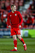 Wales midfielder George Thomas warms up during the Friendly European Championship warm up match between Wales and Trinidad and Tobago at the Racecourse Ground, Wrexham, United Kingdom on 20 March 2019.