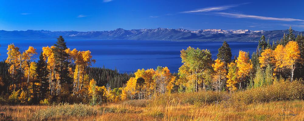 Lake Tahoe Landscape Fall Colors Panorama Lake Tahoe