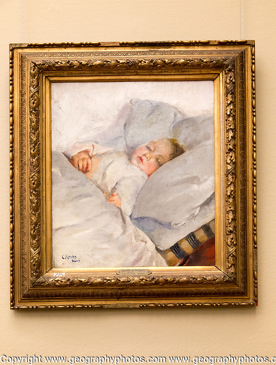 'Sleeping Child' 1882 oil painting on canvas by Christian Krohg 1852-1925, Kode 3 art gallery Bergen, Norway