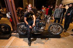Lock Baker on his custom Harley-Davidson on Saturday at the Handbuilt Motorcycle Show. Austin, TX. April 11, 2015.  Photography ©2015 Michael Lichter.