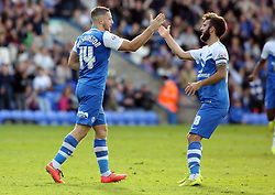 Peterborough United's Conor Washington (left) celebrates scoring his goal with team-mate Jack Payne - Photo mandatory by-line: Joe Dent/JMP - Mobile: 07966 386802 - 18/10/2014 - SPORT - Football - Peterborough - London Road Stadium - Peterborough United v Barnsley - Sky Bet League One