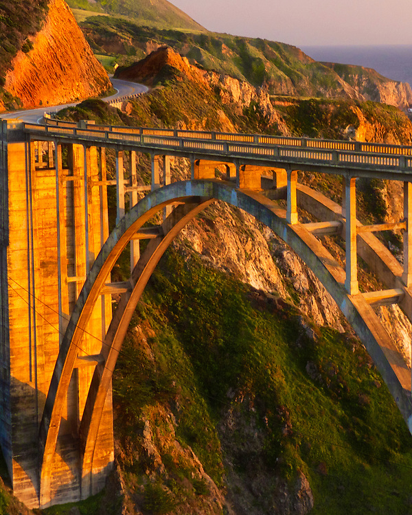 One of the most recognizable landmarks on California's Big Sur coast is this one, Bixby Creek Bridge.  Here it glows in the warm light of a a Spring afternoon.