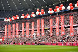 23.05.2015, Allianz Arena, Muenchen, GER, 1. FBL, FC Bayern Muenchen vs 1. FSV Mainz 05, 34. Runde, im Bild Fahnen Flaggen Gegentribuene fuer Leenden des FCB // during the German Bundesliga 34th round match between FC Bayern Munich and 1. FSV Mainz 05 at the Allianz Arena in Muenchen, Germany on 2015/05/23. EXPA Pictures © 2015, PhotoCredit: EXPA/ Eibner-Pressefoto/ Weber<br /> <br /> *****ATTENTION - OUT of GER*****