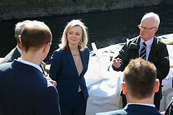 © Licensed to London News Pictures. 17/03/2016. Leeds, UK. Elizabeth Truss, Secretary of State for Environment, Food and Rural Affairs, on a visit to the Kirkstall area of Leeds, West Yorkshire, which was heavily affected by flooding earlier this year. Truss was waving the flag for flood defence spending after George Osborne announced £700 million would be spent on flood defences in his budget yesterday. Photo credit : Ian Hinchliffe/LNP