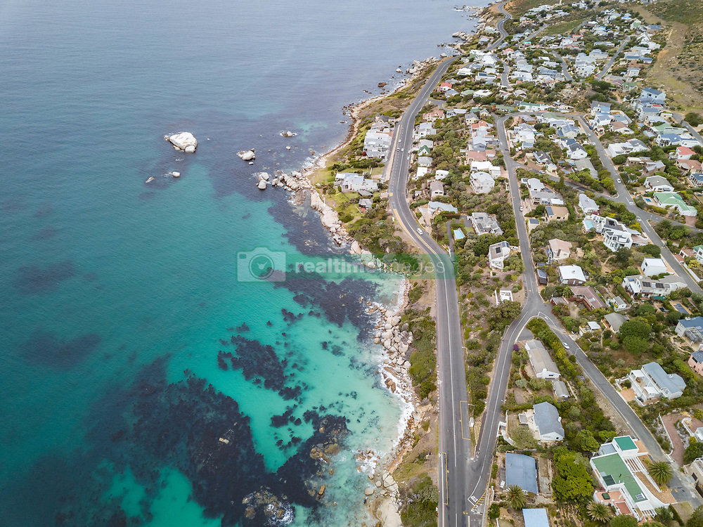 April 19, 2018 - Cape Town, Western Cape, South Africa - Aerial view of coastal road and buildings, Froggy Farm, Cape Town, South Africa. (Credit Image: © Amazing Aerial via ZUMA Wire)