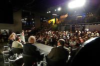 """22 AUG 2005, BERLIN/GERMANY:<br /> Wolfgang Thierse (verdeckt), SPD, Bundestagspraesident, Christina Weiss, SPD, Staatsministerin fuer Kultur und Medien, Guenter Grass, Autor, Klaus Staeck, Grafiker, Guenther Uecker, Maler, und Juergen Flimm (verdeckt), Regisseur, (v.L.n.R.), Diskussion zum Thema """"7 Jahre rot-gruene Kulturpolitik"""", Palais der Kulturbrauerei<br /> IMAGE: 20050822-03-086<br /> KEYWORDS: Jürgen Flimm, Günther Uecker, Günter Grass, Publikum, Uebersicht, Übersicht"""