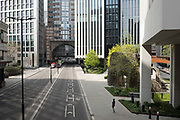 London Wall in the City of London is deserted due to lockdown as a result of the Coronavirus Pandemic on 16th April 2020 in London, United Kingdom. Coronavirus or Covid-19 is a new respiratory illness that has not previously been seen in humans. Much of Europe has been placed into lockdown, with stringent rules in place as part of a long term strategy, and in particular social distancing, and a stay at home policy.
