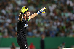 August 15, 2017 - Lisbon, Portugal - Steaua's goalkeeper Florin Nita reacts during the UEFA Champions League play-offs first leg football match between Sporting CP and FC Steaua Bucuresti at the Alvalade stadium in Lisbon, Portugal on August 15, 2017. Photo: Pedro Fiuza (Credit Image: © Pedro Fiuza via ZUMA Wire)