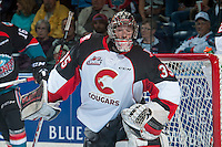 KELOWNA, CANADA - SEPTEMBER 28: Ty Edmonds #35 of Prince George Cougars defends the net against the Kelowna Rockets on September 28, 2016 at Prospera Place in Kelowna, British Columbia, Canada.  (Photo by Marissa Baecker/Shoot the Breeze)  *** Local Caption *** Ty Edmonds;