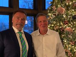 """Arnold Schwarzenegger releases a photo on Twitter with the following caption: """"""""In Columbus for meetings with the @ArnoldSports Festival team and carved out some time to catch up with my buddy, @JohnKasich. Always great, enlightening conversations."""""""". Photo Credit: Twitter *** No USA Distribution *** For Editorial Use Only *** Not to be Published in Books or Photo Books ***  Please note: Fees charged by the agency are for the agency's services only, and do not, nor are they intended to, convey to the user any ownership of Copyright or License in the material. The agency does not claim any ownership including but not limited to Copyright or License in the attached material. By publishing this material you expressly agree to indemnify and to hold the agency and its directors, shareholders and employees harmless from any loss, claims, damages, demands, expenses (including legal fees), or any causes of action or allegation against the agency arising out of or connected in any way with publication of the material."""
