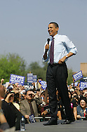 Edinburg, TX - 22 Feb 2008 -.Sen. Barack Obama takes the stage at his campaign rally held at UTPA on Friday morning.