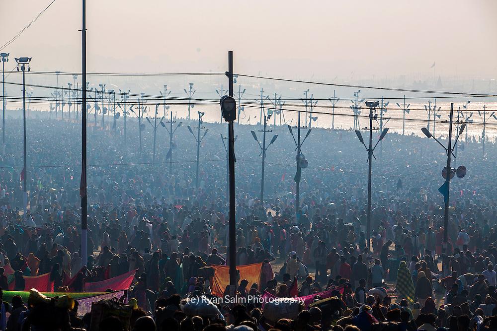 Allahabad, India - 35-40 million people were said to have converged on the holy Ganga to bathe away their sins on February 10, 2013. Kumbh mela