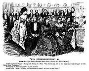"""""""Evil Communications,"""" &C. Scene - Mrs Lyon Hunter's drawing-room, during a lecture on """"Women's Rights."""" Modest youth (in a whisper, to young lady looking for a seat). """"Er - excuse me, but do you believe in the equality of the sexes, Miss Wilhelmina?"""" Young lady. """"Most certainly I do, Mr Jones."""" Modest youth. """"Haw! In that case of course I needn't give you up my chair!"""""""