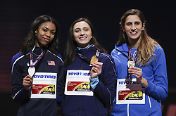 LONDON, March 2, 2018  Gold medalist Authorized Neutral Athlete Mariya Lasitskene (C) poses with silver medalist Vashti Cunningham (L) of the United States and bronze medalist Alessia Trost of Italy during the awarding ceremony for the women's high jump event of the IAAF World Indoor Championships at Arena Birmingham in Birmingham, Britain on March 1, 2018.  wll) (Credit Image: © Han Yan/Xinhua via ZUMA Wire)