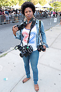 August 22, 2015- Brooklyn, NY-United States:  Photographer Jackie Graham attends the 2015 AFROPUNK Festival on August 22, 2015 held at Commodore Barry Park in Brooklyn, New York City.  AFROPUNK is an influential community of young, gifted people of all backgrounds who speak through music, art, film, comedy, fashion and more. Originating with the 2003 documentary that highlighted a Black presence in the American punk scene, it is a platform for the alternative and experimental.(Terrence Jennings/terrencejennings.com)