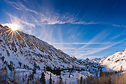 Winter sunrise over Bishop Creek, Inyo National Forest, Sierra Nevada Mountains, California