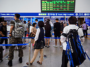 SEOUL, SOUTH KOREA: Passengers wait to buy tickets at Seoul Station, the largest train station in South Korea.   PHOTO BY JACK KURTZ