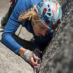 Julie Dionne climbing Pixie Corner 5.8 at the Smoke Bluffs, in Squamish BC