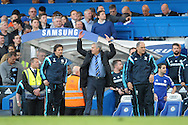 José Mourinho, the Chelsea Manager reacts during the second half. Barclays Premier league match, Chelsea v Manchester Utd at Stamford Bridge Stadium in London on Saturday 18th April 2015.<br /> pic by John Patrick Fletcher, Andrew Orchard sports photography.