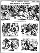 General Adoption of the Rolling Skate. George du Maurier cartoons from Punch, 17 February 1866. Engraving