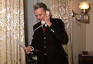 Senator Robert Byrd calling the president to announce the vote on a bill in March 1978...Photograph by Dennis Brack BB23