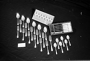"20-25/05/1966<br /> 05/20-25/1966<br /> 20-25 May 1966<br /> Competition prizes photographed at Lensmen Studio for Esso (Ireland) Ltd. Set of ""Cornet"" cutlery by Newbridge Cutlery."