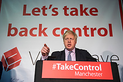 © London News Pictures. 15/04/2016. Manchester, UK.  Mayor of London BORIS JOHNSON talks at a Vote Leave campaign event in Manchester, ahead of a referendum on Britain's membership of the EU on June 23rd, 2016. Photo credit: Ben Cawthra/LNP