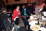 DUGGIE FIELDS; OSWALD BOATENG, Amanda Eliasch birthday dinner. North Audley st. London. 12 May 2010. -DO NOT ARCHIVE-© Copyright Photograph by Dafydd Jones. 248 Clapham Rd. London SW9 0PZ. Tel 0207 820 0771. www.dafjones.com.