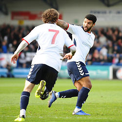 TELFORD COPYRIGHT MIKE SHERIDAN 23/3/2019 - GOAL. Ellis Deeney of AFC Telford scores to make it 1-1 during the FA Trophy Semi Final fixture between AFC Telford United and Leyton Orient at the New Bucks Head