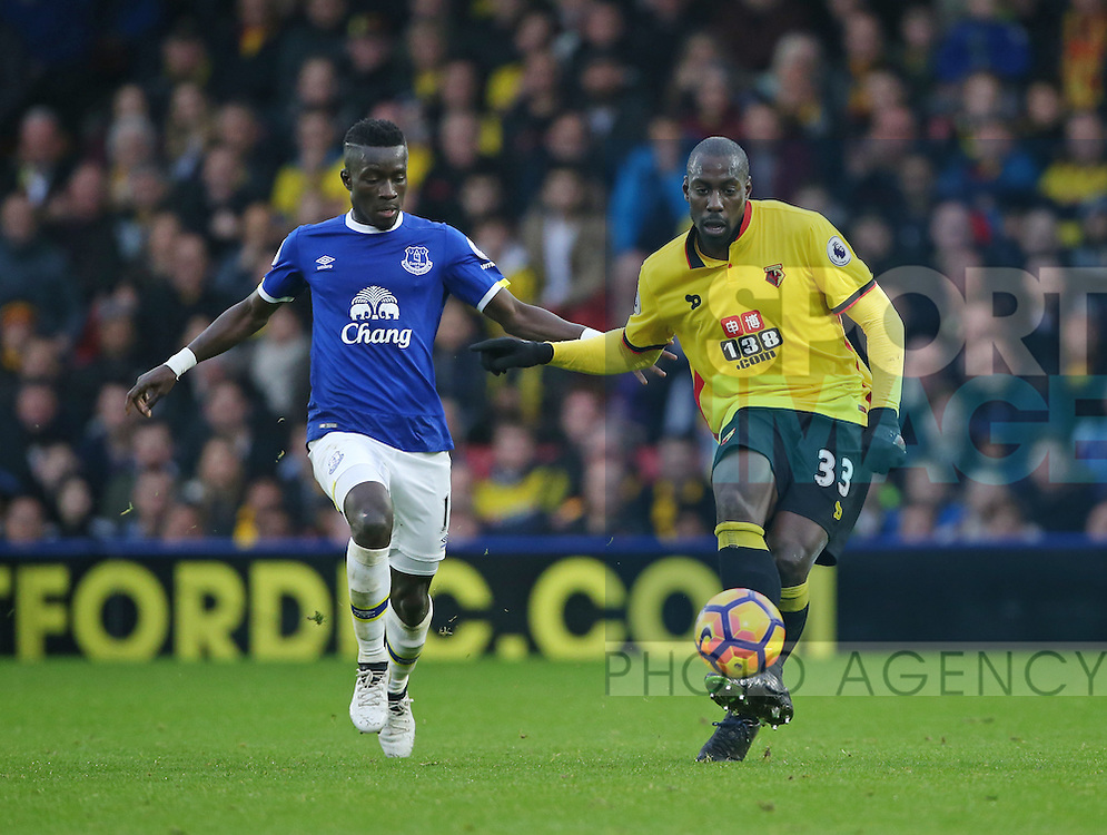 Watford's Stefano Okaka tussles with Everton's Idrissa Gueye during the Premier League match at Vicarage Road Stadium, London. Picture date December 10th, 2016 Pic David Klein/Sportimage