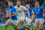 Twickenham, United Kingdom, Saturday, 9th March 2019,  Italy's, Jayden HAYWARD, running with the ball, during the Guinness Six Nations match, England vs Italy,  at the RFU Rugby, Stadium,© Peter Spurrier