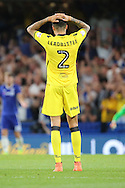 Bristol Rovers defender Daniel Leadbitter (2) with head in hands during the EFL Cup match between Chelsea and Bristol Rovers at Stamford Bridge, London, England on 23 August 2016. Photo by Matthew Redman.