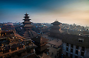 31st December 2013, Bhaktapur, Nepal. Dawn view over Taumadhi Square on the 31st December 2013,in Bhaktapur, Nepal.<br /> <br /> Bhupatindra Malla was a Malla Dynasty King of Bhaktapur, Nepal from 1696 to 1722.<br /> <br /> PHOTOGRAPH BY & COPYRIGHT OF SIMON DE TREY-WHITE <br /> +91 9810399809<br /> email: simon@simondetreywhite.com<br /> photographer in delhi photographer in delhi