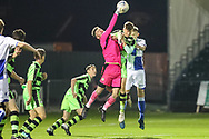 Forest Green Rovers goalkeeper Declan Lehman(1) punches the ball clear during the The FA Youth Cup match between Bristol Rovers and Forest Green Rovers at the Memorial Stadium, Bristol, England on 2 November 2017. Photo by Shane Healey.