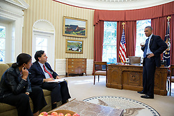 President Barack Obama talks with National Security Advisor Susan E. Rice and Ebola Response Coordinator Ron Klain following a conference call with health care workers in Africa regarding Ebola, in the Oval Office, Oct. 28, 2014. (Official White House Photo by Pete Souza)<br /> <br /> This official White House photograph is being made available only for publication by news organizations and/or for personal use printing by the subject(s) of the photograph. The photograph may not be manipulated in any way and may not be used in commercial or political materials, advertisements, emails, products, promotions that in any way suggests approval or endorsement of the President, the First Family, or the White House.
