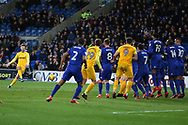 Paul Gallagher of Preston North End (l) takes a free-kick at goal. EFL Skybet championship match, Cardiff city v Preston North End at the Cardiff city stadium in Cardiff, South Wales on Friday 29th December 2017.<br /> pic by Andrew Orchard, Andrew Orchard sports photography.