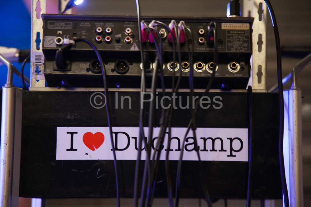 'I love Duchamp' sticker on sound equipment, Tour de Vinyl. OUT of STH Vol.3 at Awangarda Gallery. Two shows at once, Les Fleurs du Mal - New Art from London curated by Cedar Lewisohn and Free Ride Art Space / bicycle exhibition curated by Blandine Roselle. The shows run 30 April - 17 June.