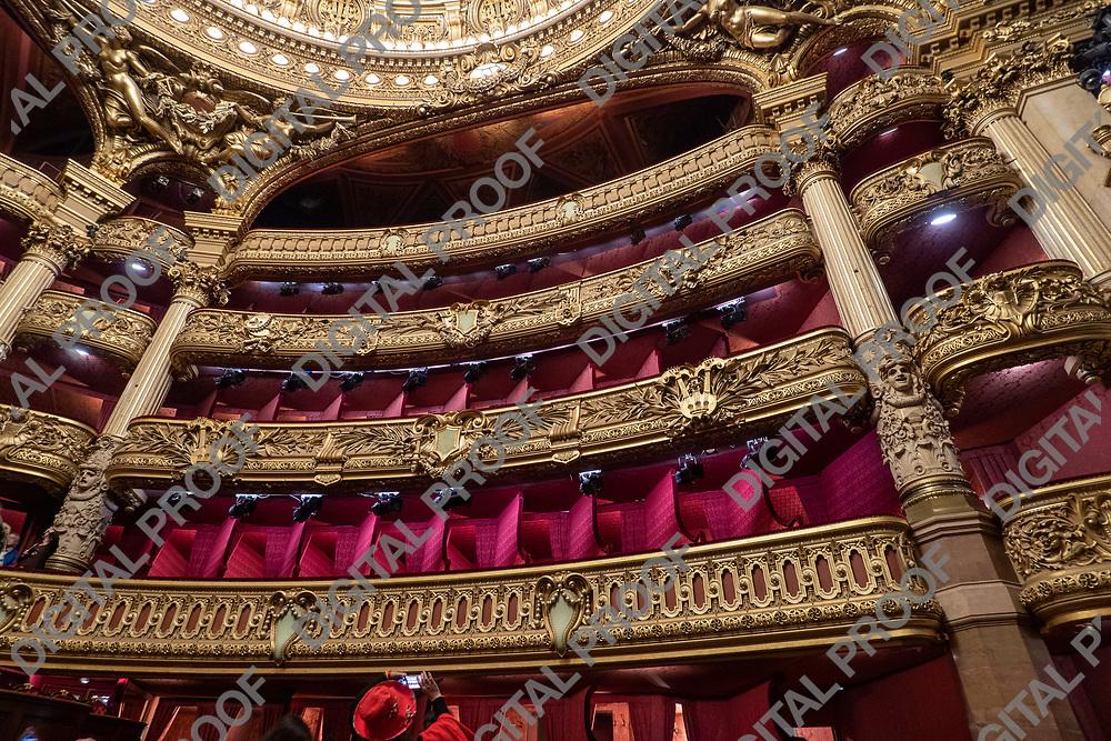 Palais Garnier - Paris Opera House - auditorium interior architecture and decoration. Balcony details. Paris, France - May 14, 2019.