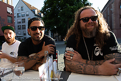 Adam, Yaniv Evan and Mario Burkardt while touring Basel after the Art and Wheels art and motorcycle show, Switzerland. May 18, 2015. Photography ©2015 Michael Lichter.