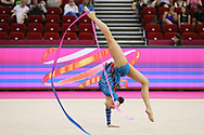 Katsyarina Halkina, Belarus, during the 33rd European Rhythmic Gymnastics Championships at Papp Laszlo Budapest Sports Arena, Budapest, Hungary on 20 May 2017.  Belarus wins silver medal. Photo by Myriam Cawston.